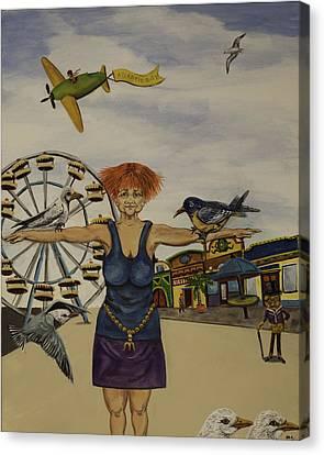 Boardwalk Birdwoman Canvas Print by Susan Culver