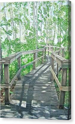 Canvas Print featuring the painting Boardwalk by Bonnie Heather