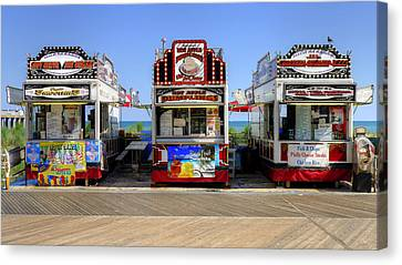 Canvas Print featuring the photograph Boardwalk Dining by Glenn DiPaola