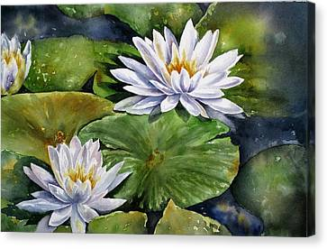 Canvas Print featuring the painting Boardwalk Lilies by Mary McCullah