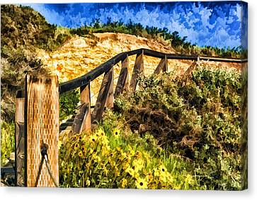 Canvas Print featuring the painting Boardwalk Steps by Anthony Citro