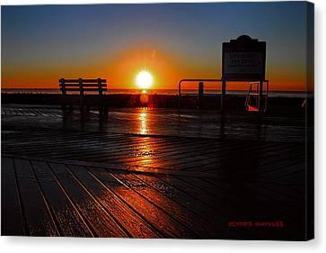 Boardwalk Sunrise Canvas Print by Geraldine Scull