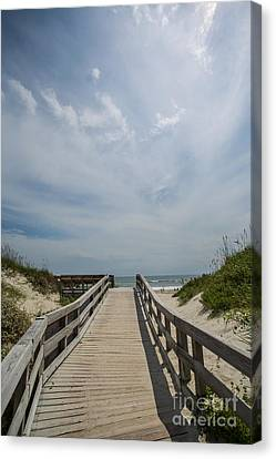 Boardwalk To The Beach Canvas Print by Kay Pickens