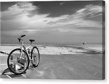 Boardwalk View With Bike In Antibes France Black And White Canvas Print by Ben and Raisa Gertsberg