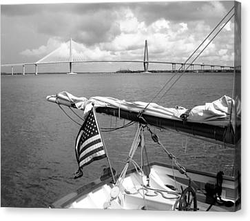 Canvas Print featuring the photograph Boat And Charleston Bridge by Ellen Tully