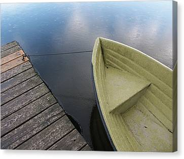 Boat And Wooden Pier - Quiet And Peaceful Scenery Canvas Print by Matthias Hauser