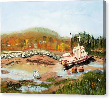 Boat At Bic Quebec Canvas Print by Michael Daniels