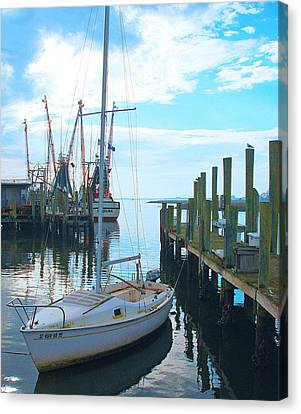 Boat At Dock By Jan Marvin Canvas Print