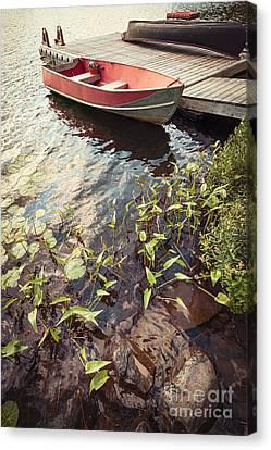 Rowboat Canvas Print - Boat At Dock  by Elena Elisseeva
