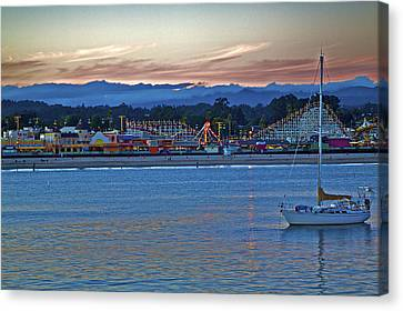 Boat At Dusk Santa Cruz Boardwalk Canvas Print