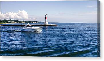 Canvas Print featuring the photograph Boat At Holland Pier by Lars Lentz