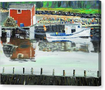 Boat At Louisburg Ns Canvas Print by Michael Daniels