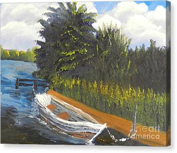 Boat At Norford Broads Canvas Print by Pamela  Meredith