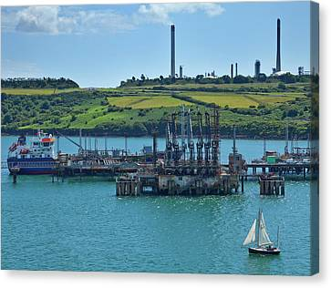 Boat At Refinary In Milford Haven Canvas Print by Panoramic Images