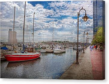 Boat - Baltimore Md - One Fine Day In Baltimore  Canvas Print by Mike Savad