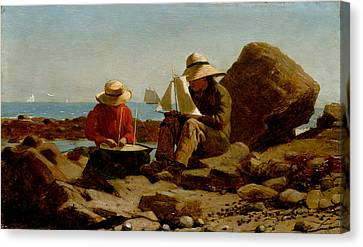 Toy Boat Canvas Print - Boat Builders by Philip Ralley