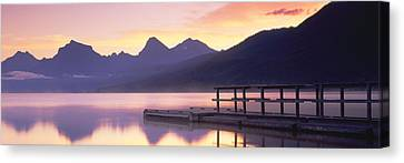 Boat Dock At Lake Mcdonald, Glacier Canvas Print by Panoramic Images