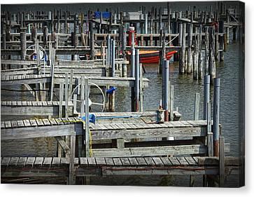 Boat Docks In Lake Macatawa Canvas Print