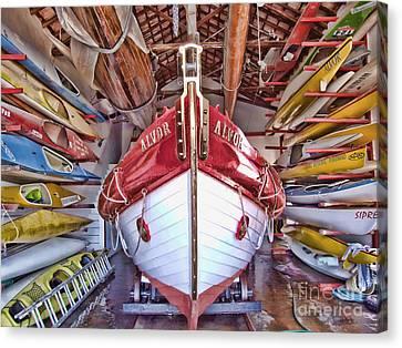 Boat Frenzy Canvas Print by Pauline Flesseman
