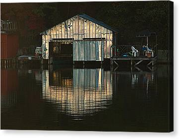 Canvas Print featuring the photograph Boat House Effects by Tammy Schneider