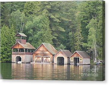 Canvas Print featuring the photograph Boat House by George Mount