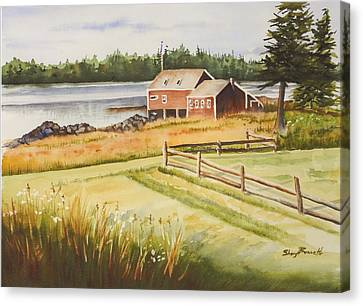 Boat House On Penobscot Bay Canvas Print by Sheryl Bessette
