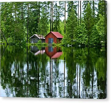 Boat House On Swedish Lake Canvas Print