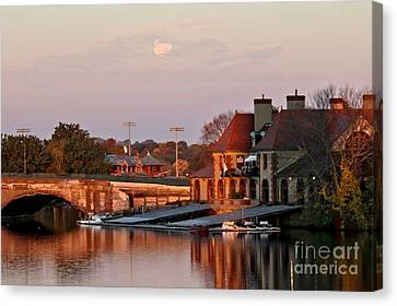 Boat Houses At Dawn Canvas Print
