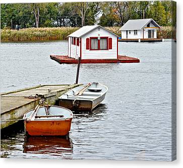 Boat Houses Canvas Print by Frozen in Time Fine Art Photography
