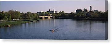 Boston Bridges Canvas Print - Boat In A River, Charles River, Boston by Panoramic Images