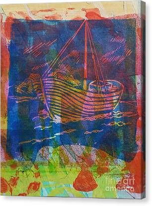 Boat In Blue Canvas Print
