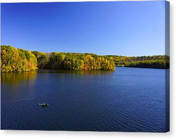 Canvas Print featuring the photograph Boat In Croton Reservoir - Ny by Rafael Quirindongo
