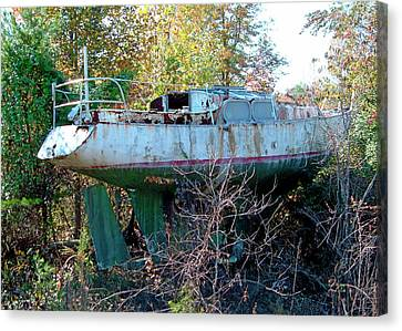 Canvas Print featuring the photograph Boat In Dry Dock Forest by Larry Bishop