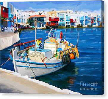 Boat In Greece Canvas Print