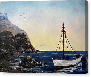 Boat In Maine Canvas Print by Lee Piper