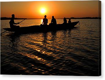 Boat In Sunset On Chilika Lake India Canvas Print by Diane Lent