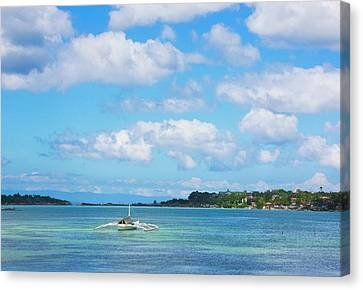 Boat In The Ocean, Bohol Island Canvas Print by Keren Su