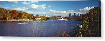 Boat In The River, Schuylkill River Canvas Print