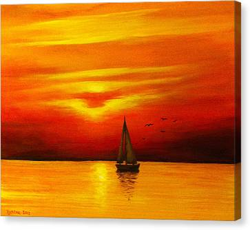 Boat In The Sunset Canvas Print