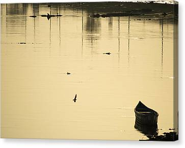 Boat In The Water Canvas Print by Rajiv Chopra
