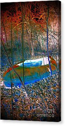 Canvas Print featuring the photograph Boat In The Woods by Karen Newell