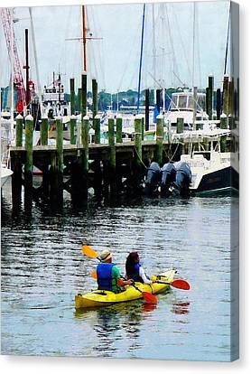 Boat - Kayaking In Newport Ri Canvas Print by Susan Savad