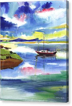 Boat N Colors Canvas Print by Anil Nene