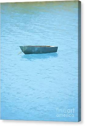 Boat On Blue Lake Canvas Print by Pixel Chimp
