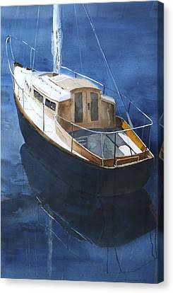 Canvas Print featuring the painting Boat On Blue by Susan Crossman Buscho