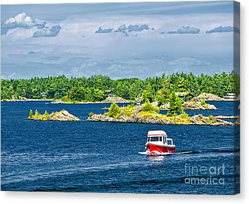 Boat On Georgian Bay Canvas Print by Elena Elisseeva