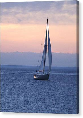 Boat On Lake Michigan Canvas Print by Susan Crossman Buscho