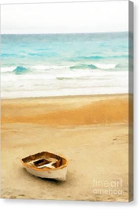 Ocean Canvas Print - Boat On Shore by Pixel  Chimp