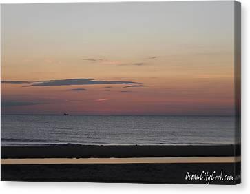 Boat On The Horizon At Sunrise Canvas Print by Robert Banach