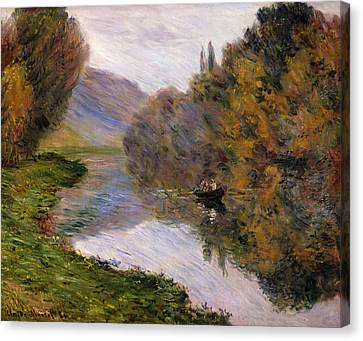 Boat On The Seine Near Jeufosse Canvas Print by Claude Monet